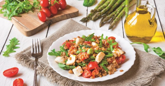 Farro Salad with Asparagus, Almonds and Goat Cheese