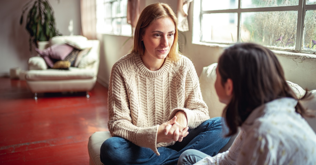 Mother and daughter having a talk, suicide prevention, mission health