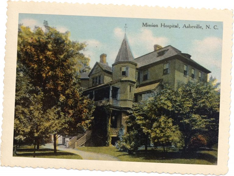 In 1892, the Asheville Mission Hospital opened in a new building at the corner of Charlotte and Woodfin Street. was the first newly-built hospital in North Carolina.