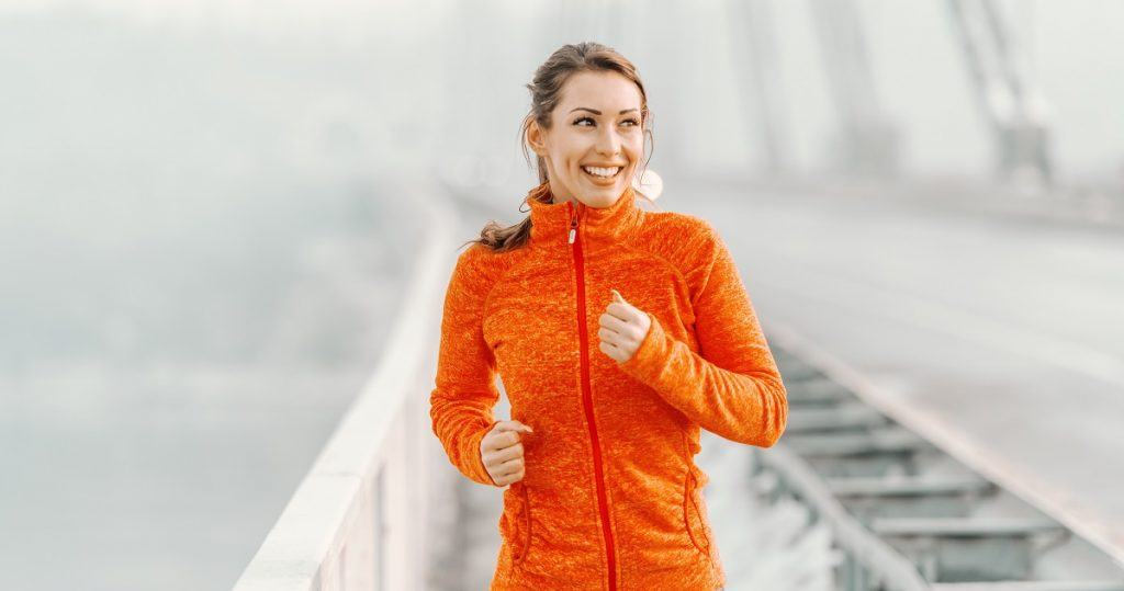Girl jogging holiday health