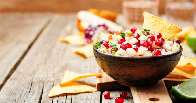 pomegranate salsa in a bowl