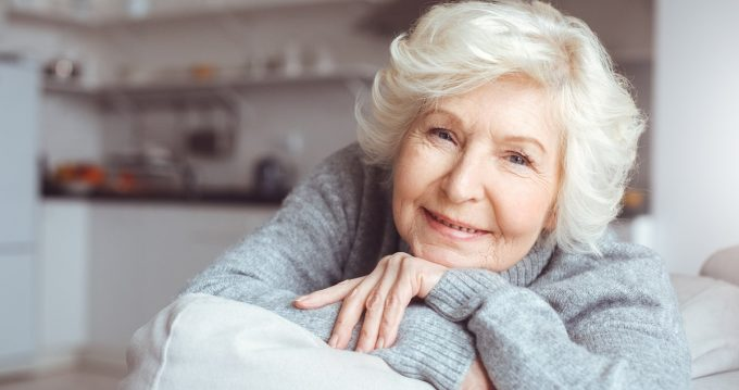 older woman with wondering look