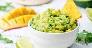mango guacamole with corn chips
