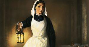 Florence Nightingale Holding Lamp