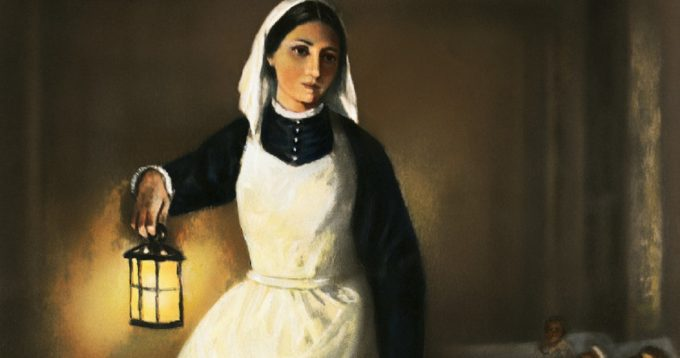 Florence Nightingale Holding Lamp