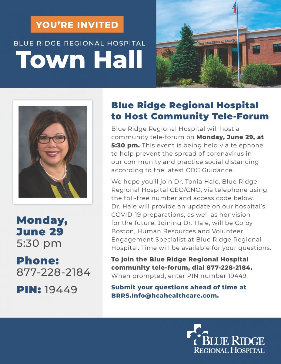 Blue Ridge Regional Hospital to Host Community Tele-Forum