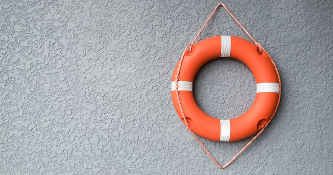 Orange life raft
